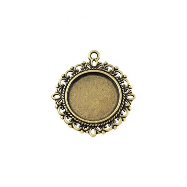 Accessoires création support cabochon pendentif dentelle 35 x 32 mm (1 pièce) Bronze - Photo n°1