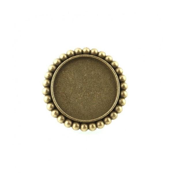 Accessoires création support cabochon bague daisy plateau rond 34 mm (1 pièce) Bronze - Photo n°2