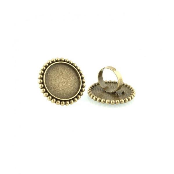 Accessoires création support cabochon bague daisy plateau rond 34 mm (1 pièce) Bronze - Photo n°1