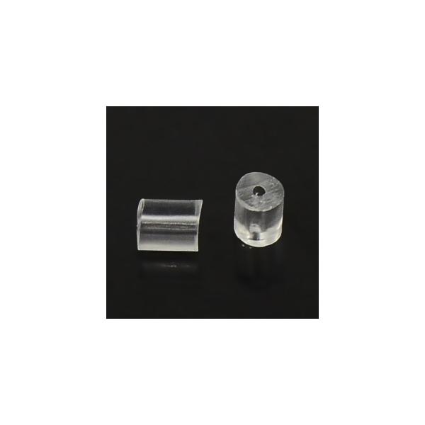 Femoir boucle d'oreille poussoir tube 3 x 3 mm (50 pièces) Transparent - Photo n°2