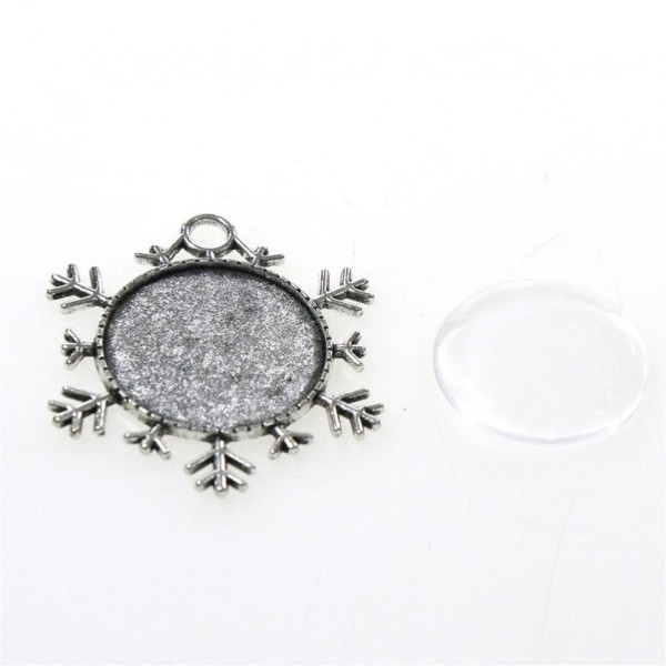 Accessoires création kit cabochon verre support rond neige 43 x 38 mm (5 pièces) Gris - Photo n°2