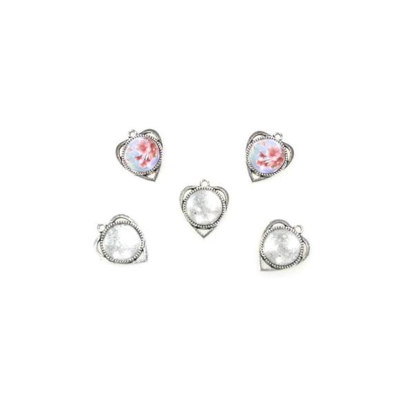 Accessoires création kit cabochon verre pendentif coeur 30,5 x 25 mm (5 pièces) Gris - Photo n°1