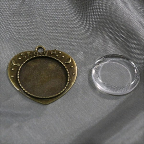 Accessoires création kit cabochon verre pendentif love 36 x 32 mm (20 pièces) Bronze - Photo n°2