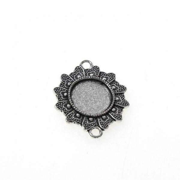 Accessoires création kit cabochon verre connecteur flower 34 x 28 mm (10 pièces) Gris - Photo n°1