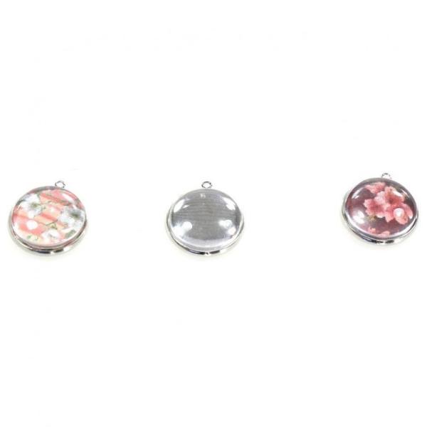 Accessoires création kit cabochon verre rond pendentif 25 x 21 mm (5 pièces) Argenté - Photo n°1