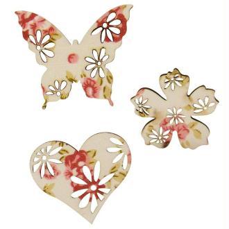Formes printemps en bois et toile imprimée fleur 4 cm x 6