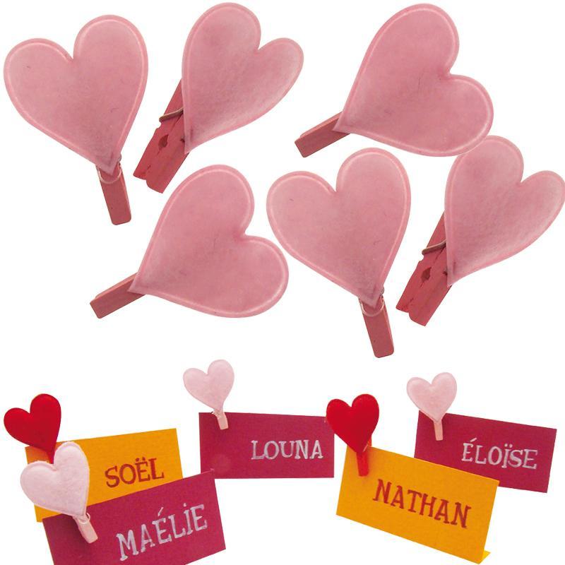 pince linge 2 5 cm coeur rose en feutrine x 6 pinces linge d coratives creavea. Black Bedroom Furniture Sets. Home Design Ideas