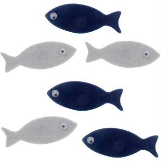 Petits poissons marine et gris en feutrine 5,5 cm x 6
