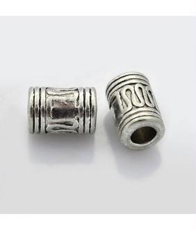 Perles argent Tibétain forme tube 10x7 mm