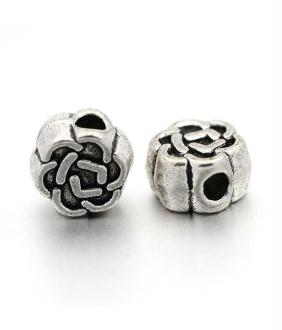 Perles argent Tibétain forme fleur 4,5x3mm