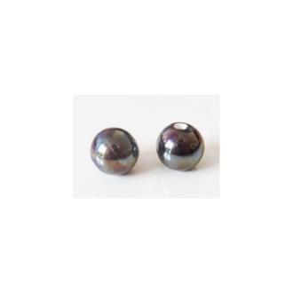 Perle artisanale porcelaine 12mm CHOCOLAT