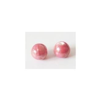 Perle artisanale porcelaine 12mm BOIS DE ROSE