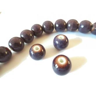 Perle artisanale porcelaine 10mm VIOLET ANTIQUE