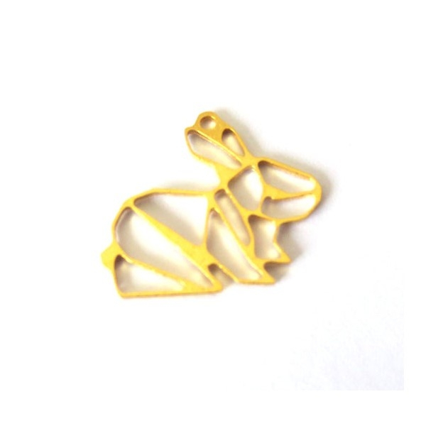 Pendentif Lapin Origami GOLDFILLED 20x15mm motif exclusif - Photo n°1