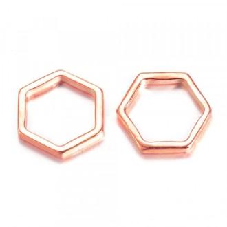 Pendentif / connecteur Hexagone Nid D'abeille en métal 20mm OR ROSE (ROSE GOLD)