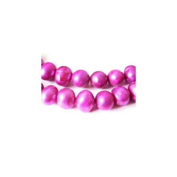 5 Perles d'Eau Douce 10-12mm ORCHIDEE - Photo n°1