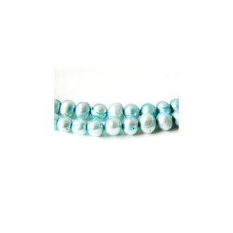 10 Perles d'Eau Douce 6-8mm BLEU CIEL