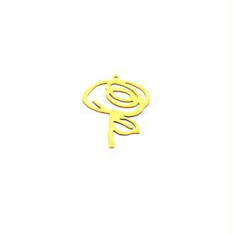 Pendentif  fleur doré en laiton brut - 24 x 33 mm