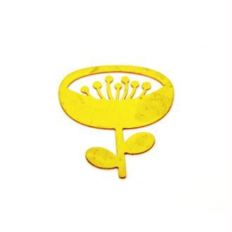 Pendentif fleur doré en laiton brut - 32 x 40 mm