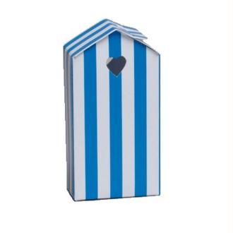 Mini ballotin cabine de plage bleue et blanche