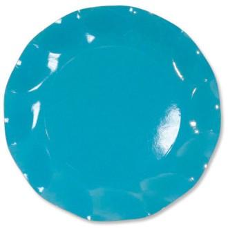 10 Assiettes carton D21cm Turquoise