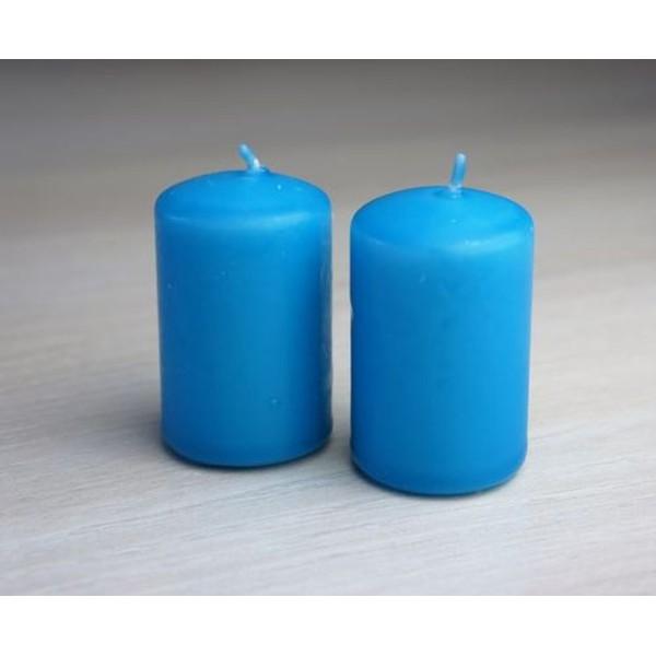 2 Bougies turquoise D4cm Ht 6cm - Photo n°1