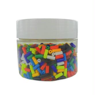 Perles tubes en verre cylindriques 09 x 04 mm Multi Opaque - Bocal de 250 grammes