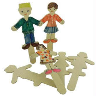 Sachet de 12 Sticks personnages en bois naturel - 3 Formes assorties