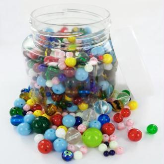 Perles rondes en verre Mix tailles et couleurs - Bocal de 300 grammes