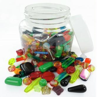 Perles en verre Mix formes, tailles et couleurs - Bocal de 300 grammes