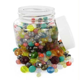 Perles facettées en verres Mix Tailles et Couleurs - Bocal de 300 grammes