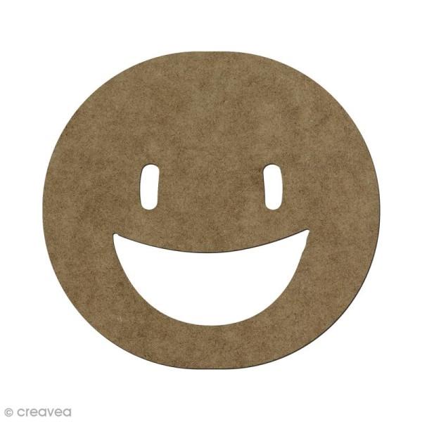 Forme en bois à décorer Smiley heureux - 5,6 x 6 cm - Photo n°1