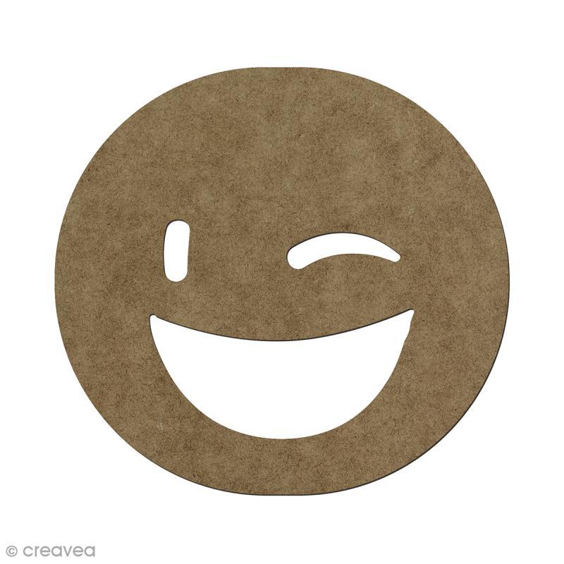 Forme en bois à décorer Smiley clin d'oeil - 5,6 x 6 cm - Photo n°1
