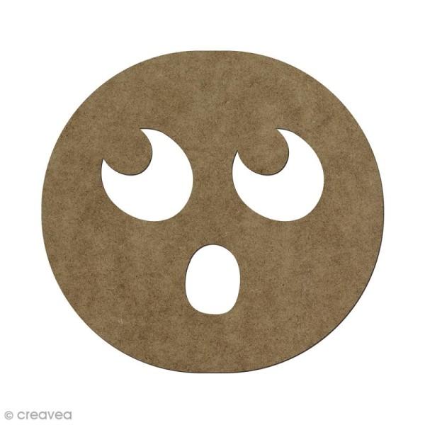 Forme en bois à décorer Smiley surpris - 5,6 x 6 cm - Photo n°1