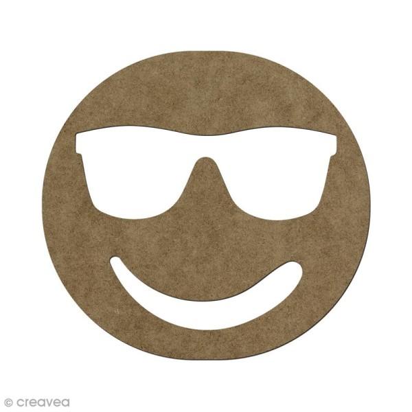 Forme en bois à décorer Smiley cool - 5,6 x 6 cm - Photo n°1