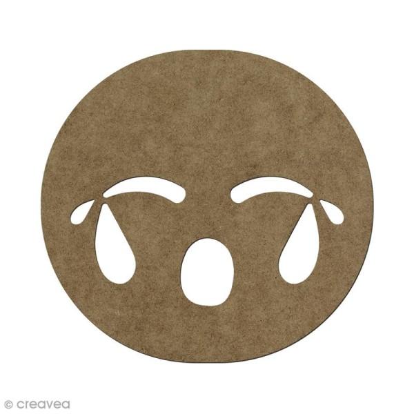 Forme en bois à décorer Smiley pleure - 5,6 x 6 cm - Photo n°1