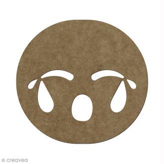 Forme en bois à décorer Smiley pleure - 5,6 x 6 cm