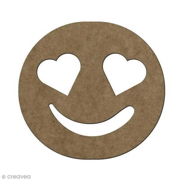 Forme en bois à décorer Smiley amoureux - 5,6 x 6 cm - Photo n°1