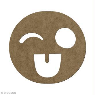 Forme en bois à décorer Smiley fou - 5,6 x 6 cm
