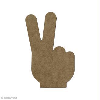 Forme en bois à décorer Main peace - 6 x 4 cm
