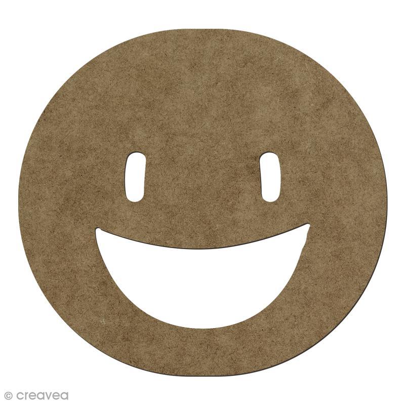 Forme en bois à décorer Smiley heureux - 14,1 x 15 cm - Photo n°1