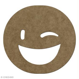 Forme en bois à décorer Smiley clin d'oeil - 14,1 x 15 cm