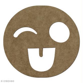 Forme en bois à décorer Smiley fou - 14,1 x 15 cm