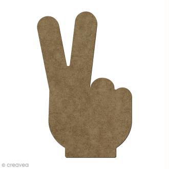 Forme en bois à décorer Main peace - 15 x 9 cm