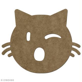 Forme en bois à décorer Clin d'oeil chat - 13 x 15 cm