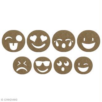 Set formes en bois à décorer smiley - 2 à 2,5 cm - 8 pcs