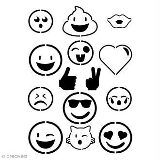Pochoir multiusages - Smiley émotions - A4
