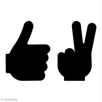 Pochoir multiusages - Mains super et peace - A4