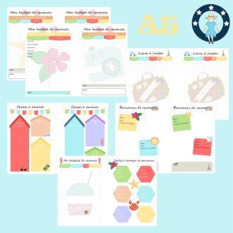 Kit printables vacances planner a5 liste,souvenirs,budget,adresses,wishlist,lieux à voir
