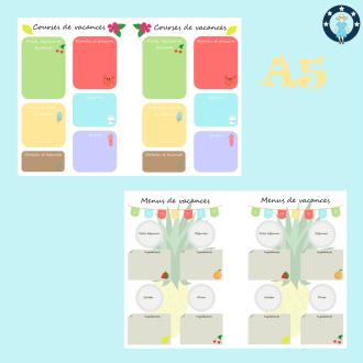 Kit printables vacances pour planner a5 courses et menus de vacances